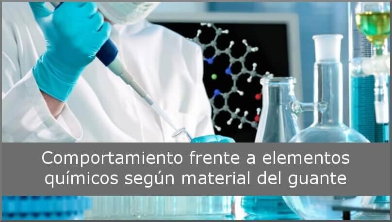 Comportamiento frente a elementos químicos según material del guante