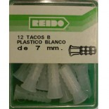 Kit 12 Tacos B Plastico Blanco de 7 mm.