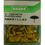 Kit 40 Chinchetas Plastificadas Amarillas