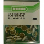 Kit 40 Chinchetas Plastificadas Blancas