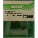 Kit 6 Tacos B Plastico Blanco de 10 mm.
