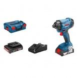 Bosch GDR 18V-160 Professional + 2 baterías 2Ah + L-BOXX - Atornillador de impacto a batería