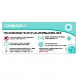 Cartel prevención coronavirus de 70x30cm - 1 cara