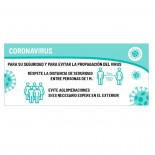 Cartel de prevención coronavirus de 70x30cm - 1 cara
