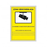 Cartel zona videovigilada PVC de 21x29cm