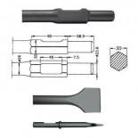 Cincel ancho inserción HITACHI H65 SB (Hexagonal 30mm) de 410mm