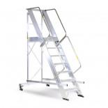 Escalera de almacén con guardacuerpos Svelt Castellana Maxi - 4 peldaños
