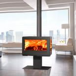 Estufa de leña contemporánea Panadero Harmonie Trivision Ecodesign 7,2kW 220m3