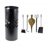 Juego accesorios chimenea ovalado 5 piezas Flores Cortés