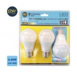 Kit 3 bombillas LED STANDARD E27 10W 810 lumens - 6.400K EDM