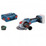 Bosch GWX 18V-15 SC Professional + L-BOXX - Miniamoladora a batería BITURBO con X-LOCK de 125mm
