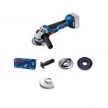 Bosch GWS 18V-10 Professional con brida - Miniamoladora a batería de 115mm