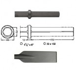 Pala larga para martillos neumáticos inserción Hexagonal 32x152 de 80x520mm