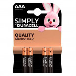 Pilas alcalinas DURACELL SIMPLY - AAA (Blister 4 unidades)