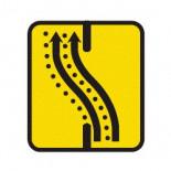 Señal de obras desvío dos carriles por calzada opuesta - 60x60cm Homologada Reflex 1