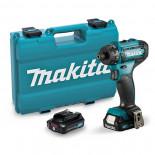 Taladro atornillador Makita DF033DSAE 12Vmax CXT 1/4' con 2 baterías de 2Ah y maletín