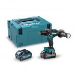 Makita HP001GM201 con 2 baterías 4Ah - Taladro percutor BL 40Vmáx XGT 140 Nm