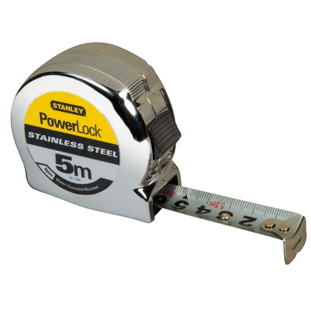 Flexómetro PowerLock Acero Inoxidable 8m x 25mm Stanley