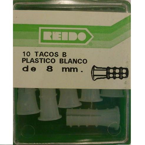 Kit 10 Tacos B Plastico Blanco de 8 mm.