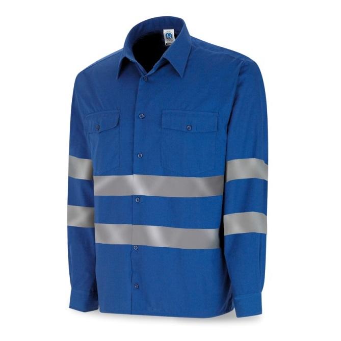 Camisa algodón manga larga azulina con bandas reflectantes 388-CRML