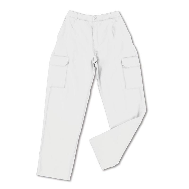 Pantalón multibolsillos tergal de 200g blanco 388-PB - Referencia 388-PB