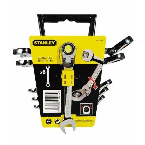 Juego llaves combinadas de carracas articuladas Stanley - 6 piezas