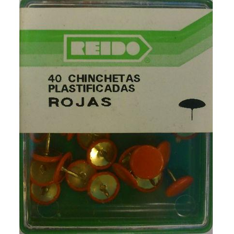 Kit 40 Chinchetas Plastificadas Rojas