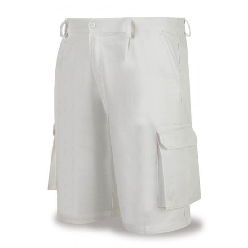 Bermuda multibolsillos de 100% algodón blanco 488-SB Top