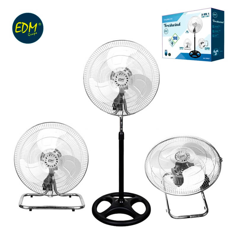 Ventilador industrial 3 en 1 (Pie/Suelo/Pared) Ø45cm 90W