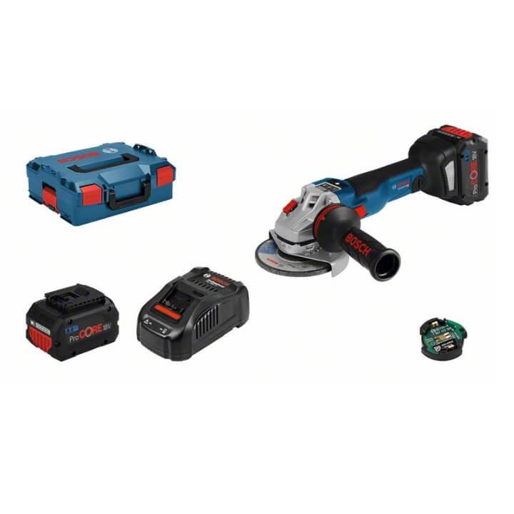 Bosch GWS 18V-10 SC Professional + L-BOXX con 2 baterías 8Ah - Miniamoladora a batería de 125mm - Referencia 06019G340H