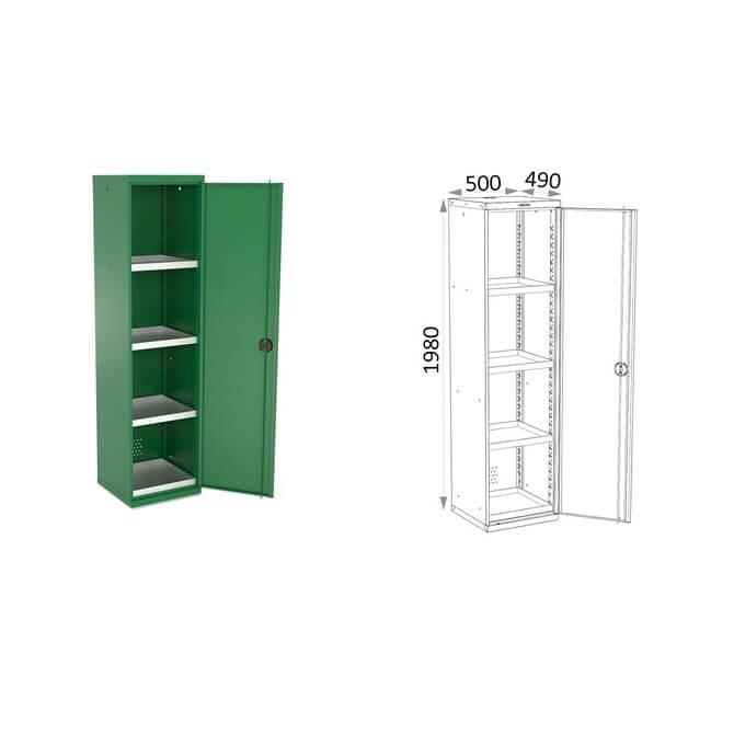 Armario 1 puerta con bandejas Heco 161.4 - 500x490x1980mm - Referencia 161.4