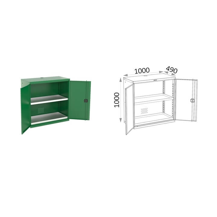 Armario 2 puertas con bandejas Heco 161.2 - 1000x490x1000mm - Referencia 161.2