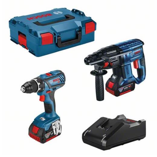 Kit Bosch Martillo GBH 18V-21 + Taladro GSR 18V-28 con 2 baterías 4Ah - Referencia 0615990M0R