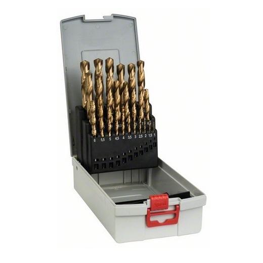 Juego 25 brocas para metal Bosch con recubrimiento titanio ProBox HSS-TiN