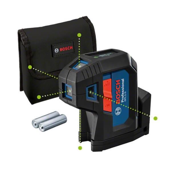 Bosch GPL 5 G Professional  - Nivel láser de 5 puntos verdes - Referencia 0601066P00