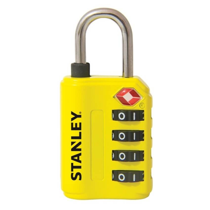 Candado de combinación TSA Stanley amarillo de 30mm - Referencia S742-059