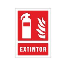 Cartel Extintor fotoluminiscente con flama