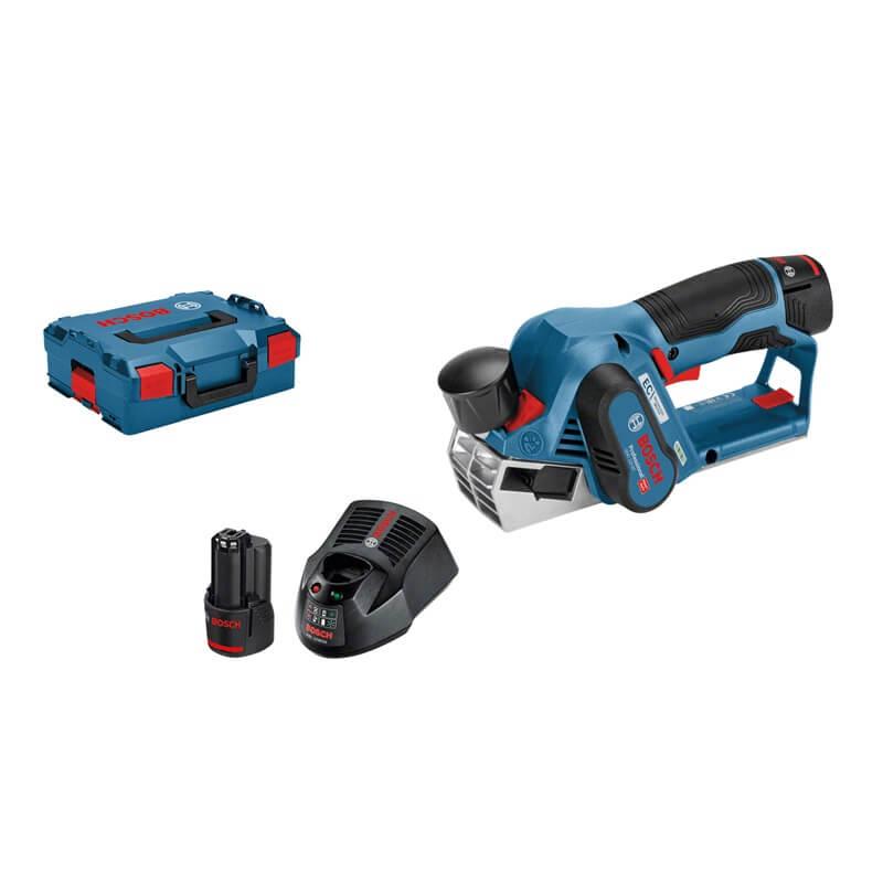 Cepillo a batería Bosch GHO 12V-20 Professional en L-BOXX con 2 baterías