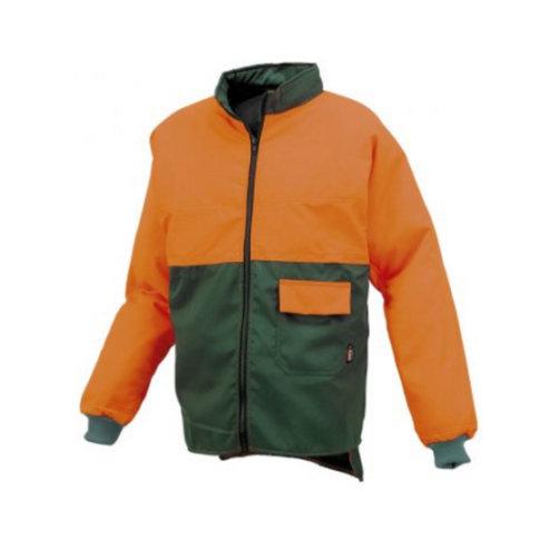 Chaqueta con protección anticorte para motosierra verde/naranja para leñador