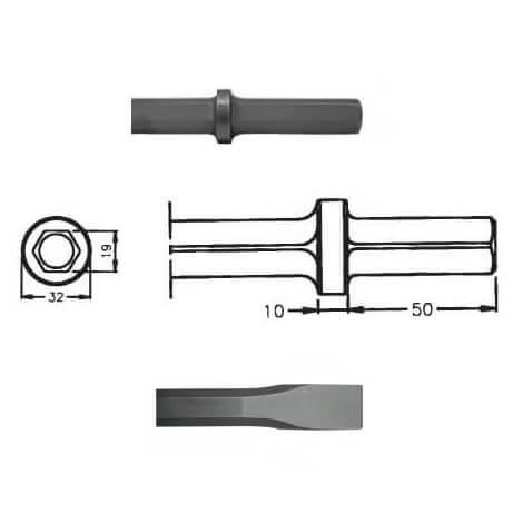 Cincel para martillos neumáticos inserción Hexagonal 19x50 de 330mm