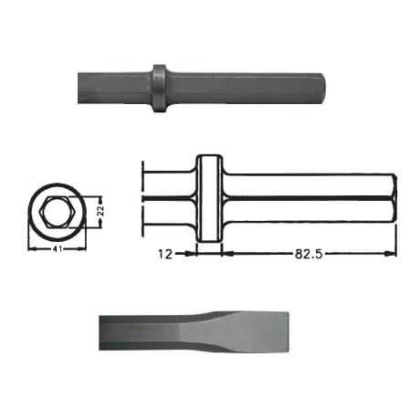 Cincel para martillos neumáticos inserción Hexagonal 22x82,5 de 450mm