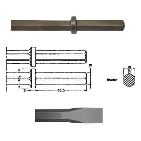 Cincel hexagonal inserción WACKER EHB 10/220 de 330mm