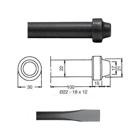 Cincel para martillos neumáticos inserción Redonda 21x12 de 350mm