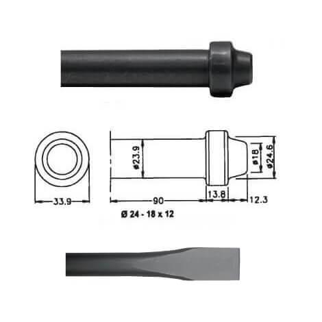 Cincel para martillos neumáticos inserción Redonda 24x12 de 350mm - Referencia 00034