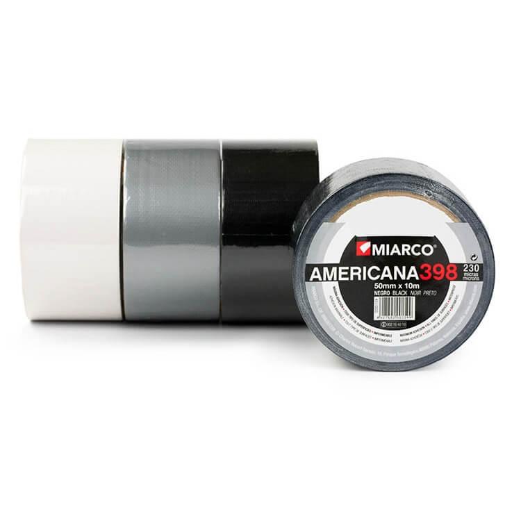 Cinta americana 398 Miarco de 50mm x 30 metros - Negra