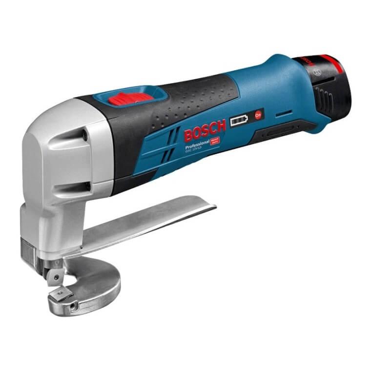 Cizalla de chapa a batería Bosch GSC 12 V-13 Professional en L-BOXX con 2 baterías