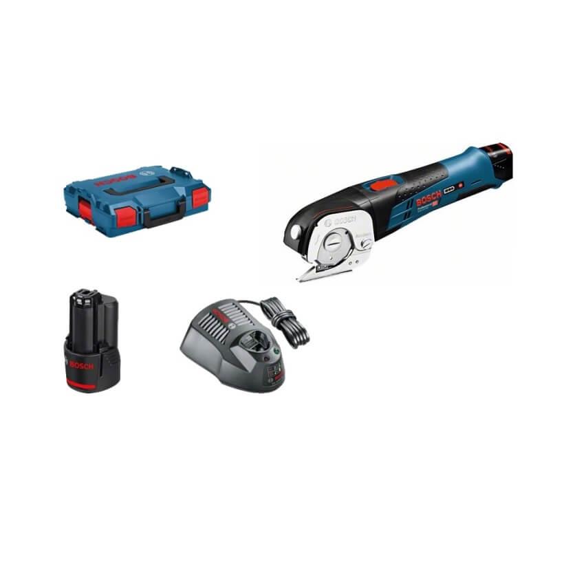 Bosch GUS 12V-300 - Cizalla a batería con 2 Baterías + Cargador + Maletín L-BOXX