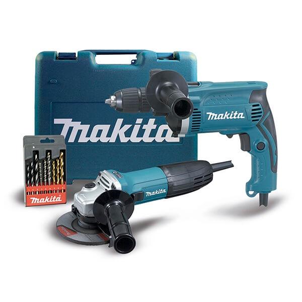 Taladro percutor Makita HP1631 + Miniamoladora Makita GA4530R