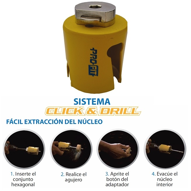 Corona multiuso sistema Click & Drill - 40 mm.