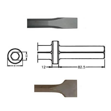 Corta asfaltos para martillos neumáticos inserción Hexagonal 22x82,5 de 450mm - Referencia 00047